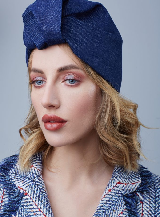 Fashion Turban Head Wrap DENIM CLOSED TURBAN