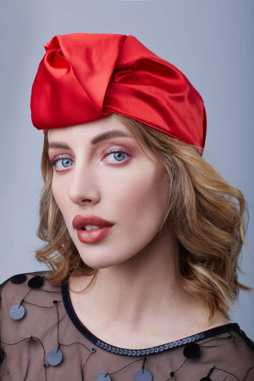 RED SATIN OPEN head wraps for women