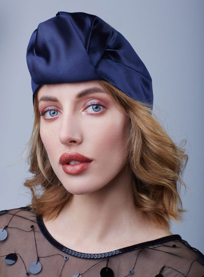 BLUE SATIN OPEN Fashion Head Wraps