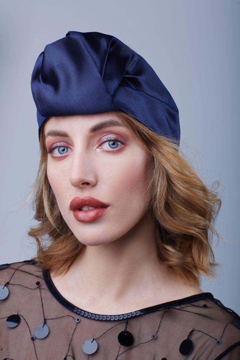 BLUE SATIN OPEN Fashion Head Wraps