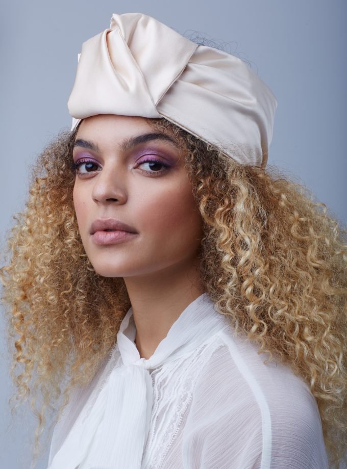 BUTTERCREAM BEIGE SATIN OPEN TURBAN