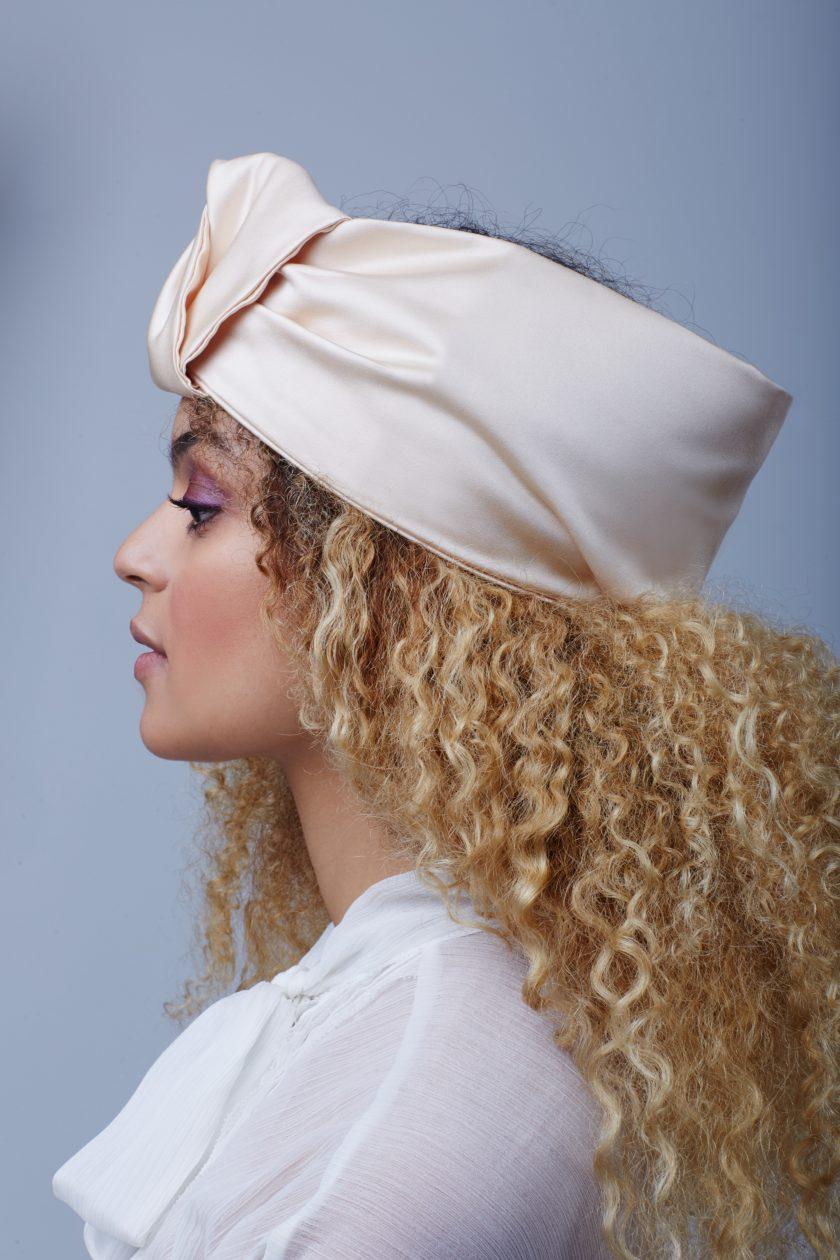 BEIGE SATIN CLOSED turban head wrap