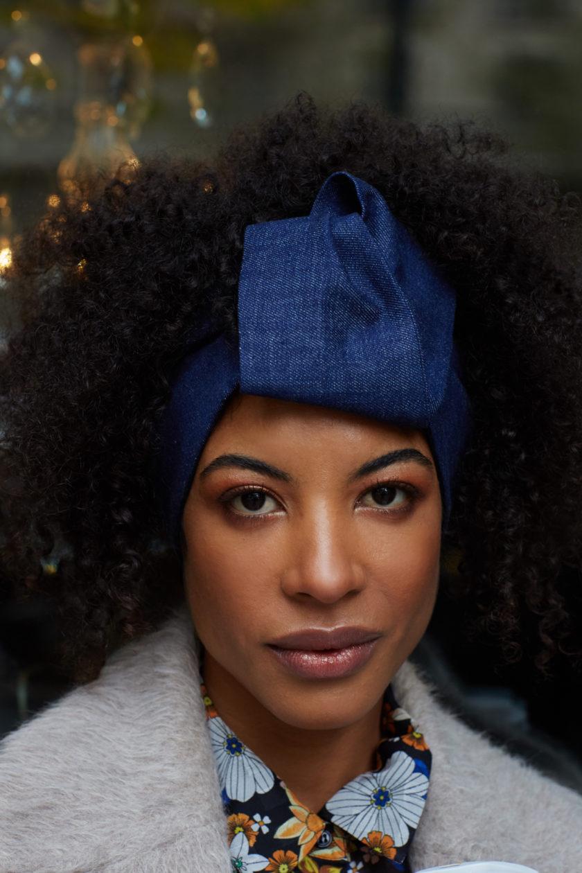 DENIM OPEN TURBAN Fashion Turban Head Wrap