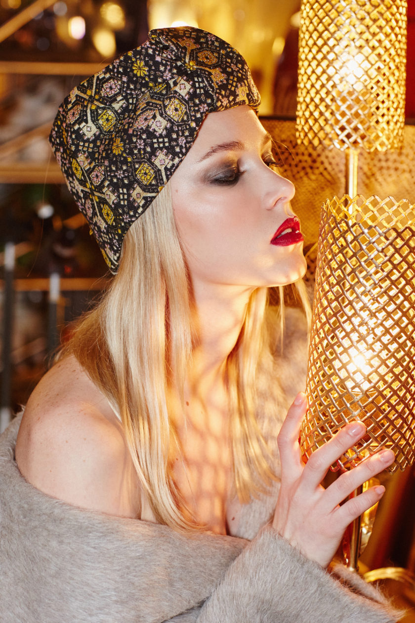 LIMITED EDITION. GLAMOROUS BROCADE OPEN TURBAN