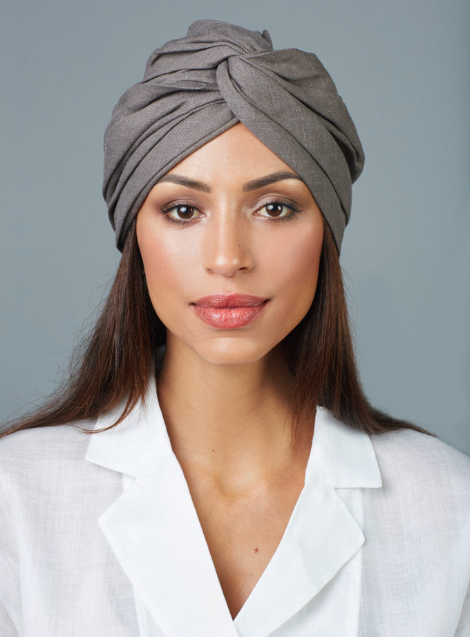 ASH GREY CROSSED TURBAN
