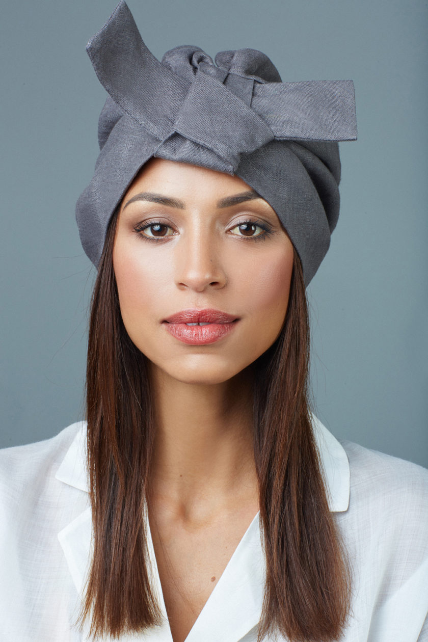 ASH GREY BOW TURBAN (2 in 1)