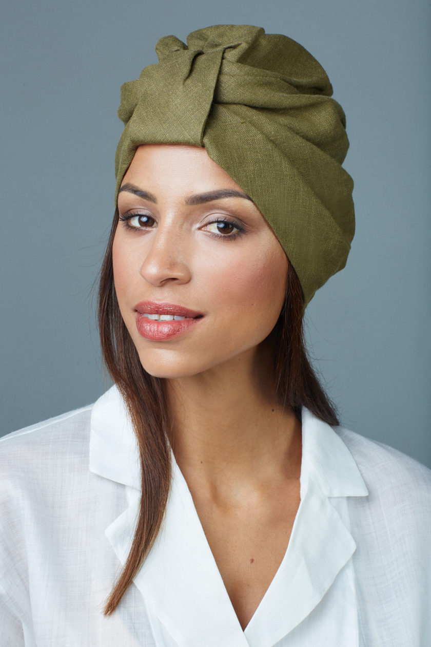 KHAKI GREEN BOW TURBAN (2 in 1)