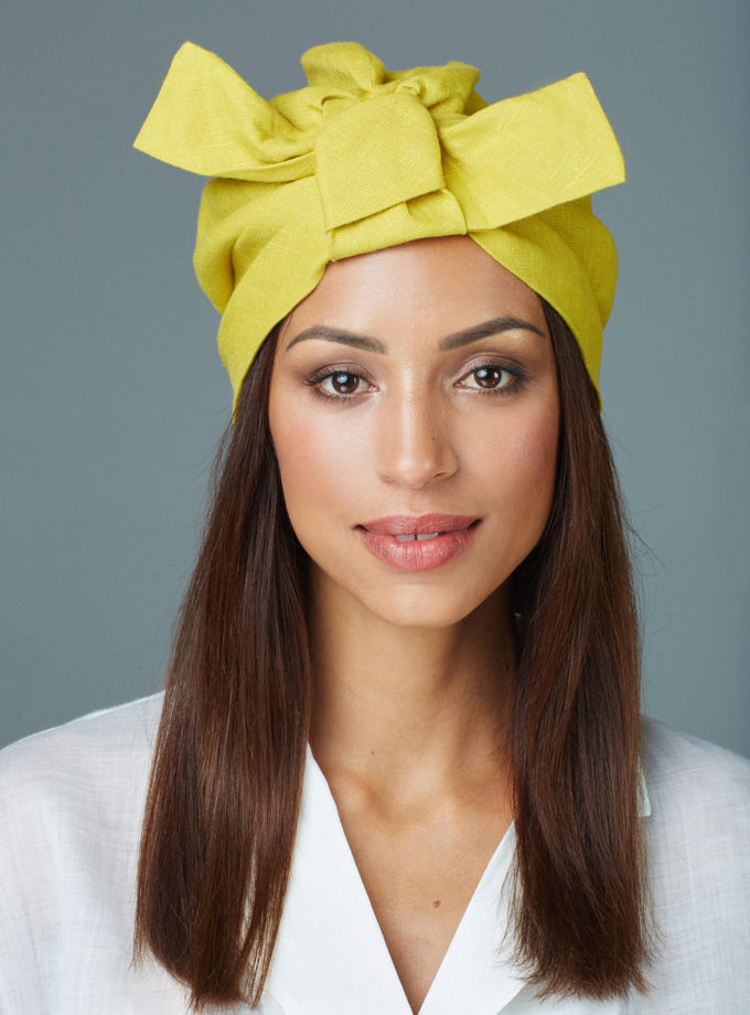 CHARTREUSE YELLOW BOW TURBAN (2 in 1)