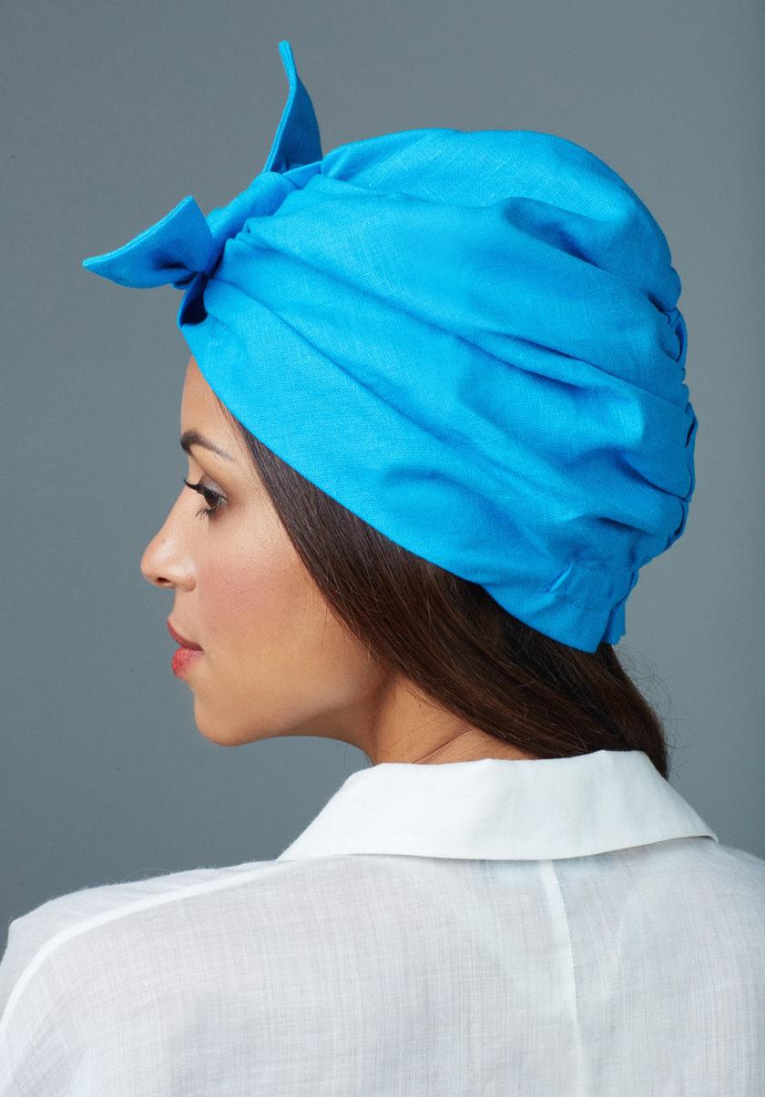 SAPPHIRE BLUE BOW TURBAN (2 in 1)